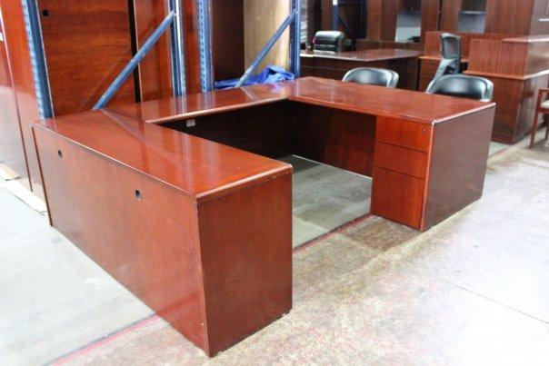 U Shaped Desk Cherry Veneer